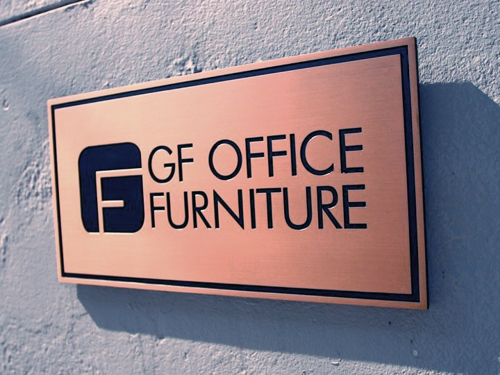 GF Office   Etched Copper Plaque. 1 Photo Etched Copper Plaque On Outdoor  Wall