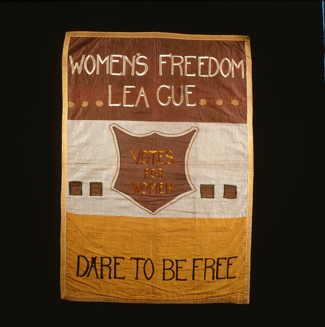 Women's Freedom League Suffrage Banner, 1908-1909. Credit: LSE Library