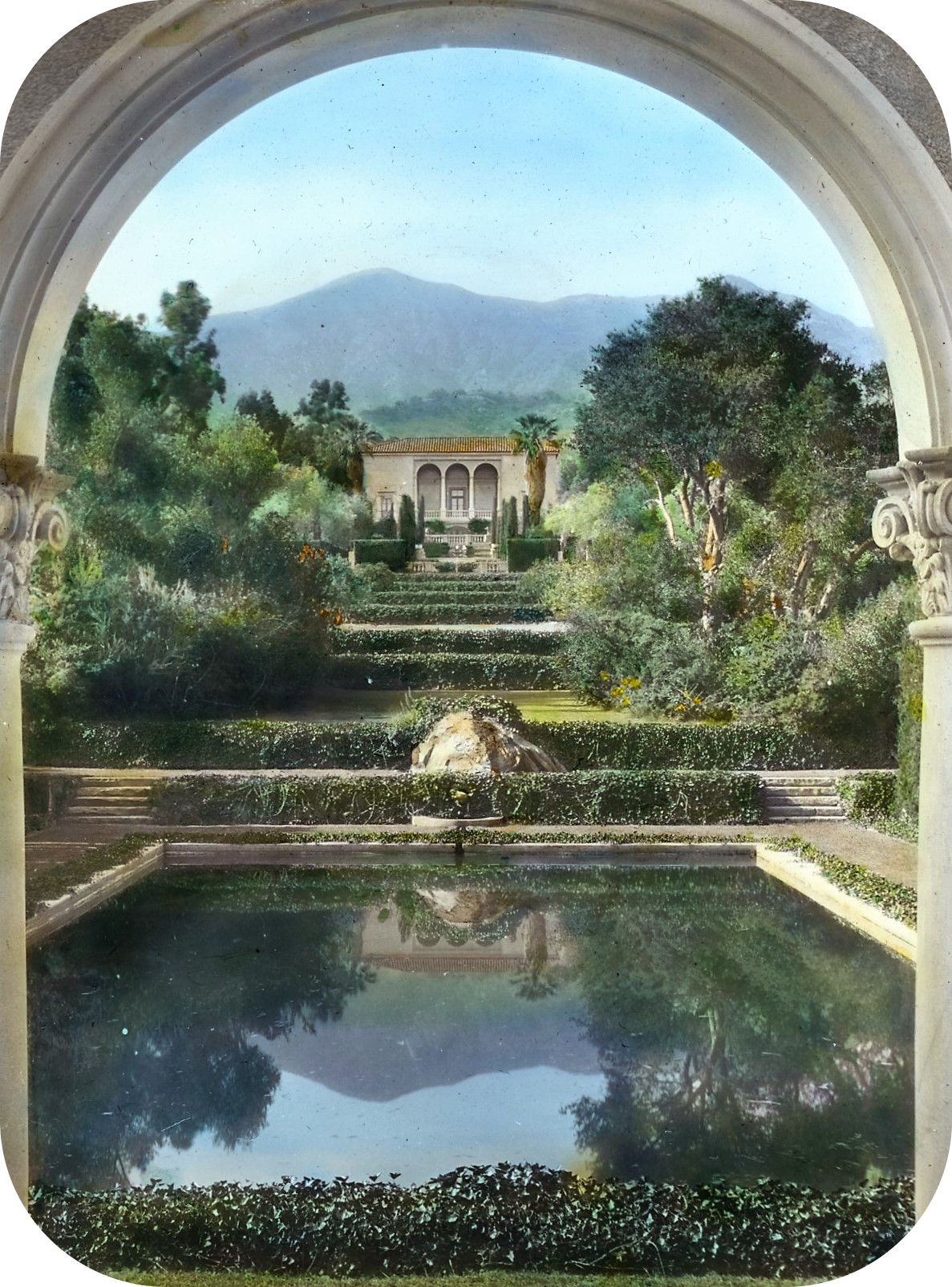 'Las Tejas,' Oakleigh Thorne house, 170 Picacho Road, Montecito, California. View from swimming pool pavilion to house