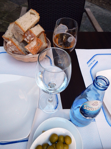 A lunch in a small square in Santiago de Compostela