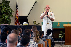 Adm. Scott Swift, commander of U.S. Pacific Fleet, addresses Sailors, civilians and their families during an all hands call in Singapore. (U.S. Navy/MC1 Jay C. Pugh)