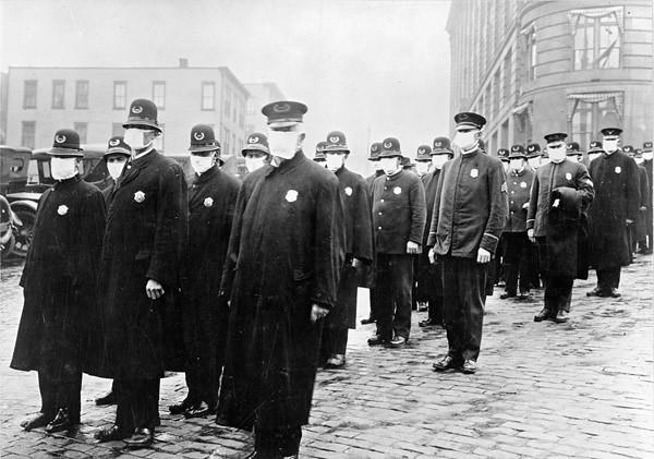 Policemen wearing masks during during the Spanish flu pandemic of 1918–1919 in Seattle