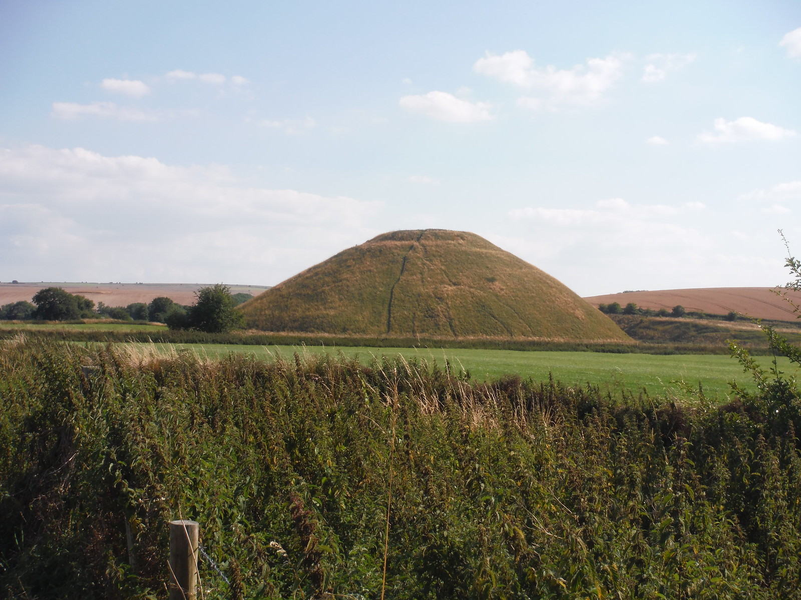 Silbury Hill from the footpath SWC Walk 255 Pewsey or Marlborough Circular via Avebury