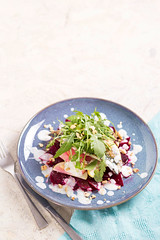 Pan fried mackerel with beetroot and apple salad
