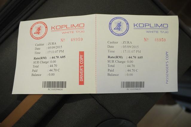 Taxi 車票,機場到Chulia一共44.7元