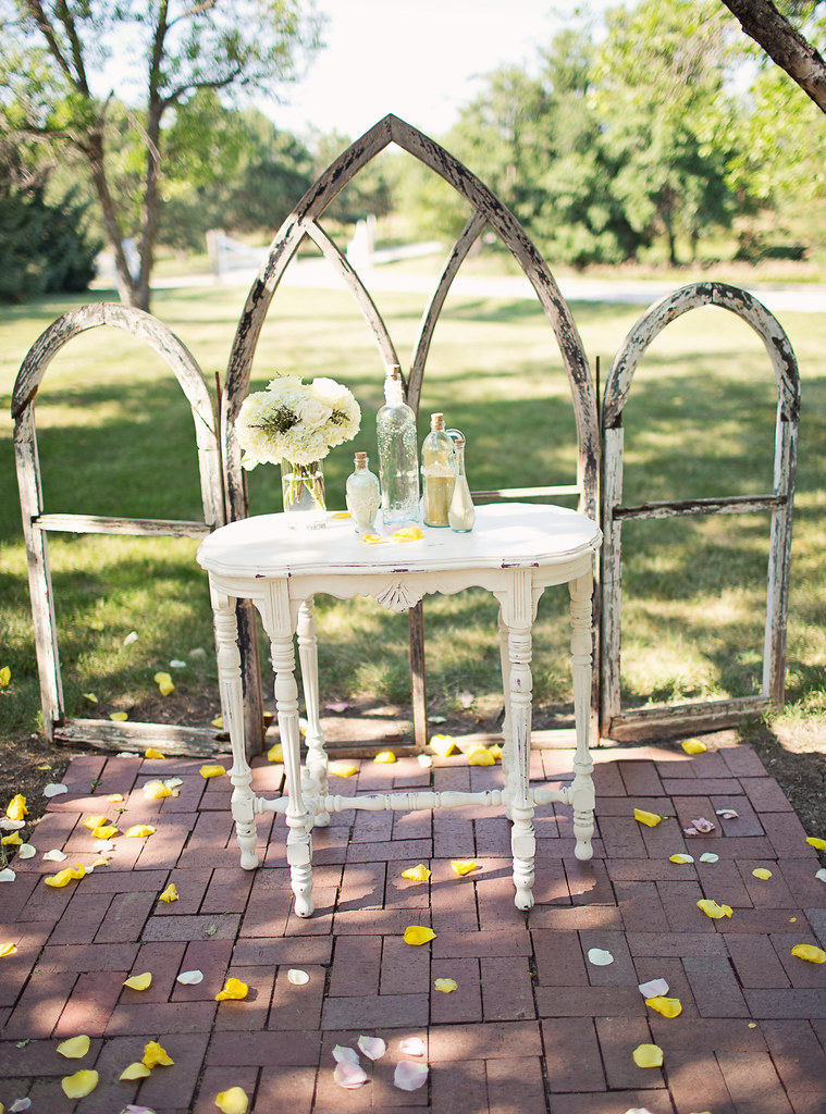 Church Window Frame and White Console Table