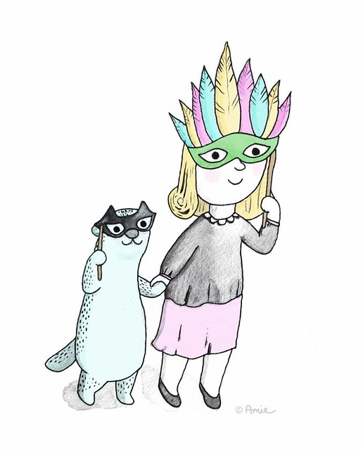 Picture of Lucy & Otter illustration. Hand inked, digitally coloured by Amie Sabadin.