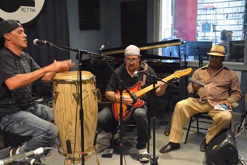 Steve Perilloux, Leo Nocentelli, and Michael Soulman Baptiste at WWOZ Fall 2015 Pledge Drive Day 2.  Photo by Kichea S Burt.