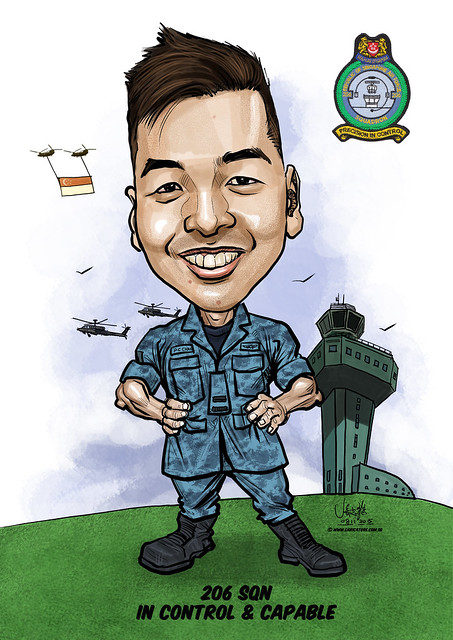 digital caricature for Singapore Air Force - Edwin Teng