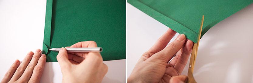 Doblar un extremo de la cartulina, dibujar la mitad de una hojita y recortarla