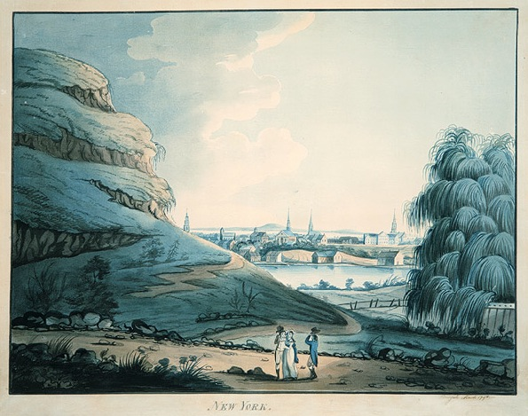 1798 watercolor of Collect Pond showing Bayard's Mount
