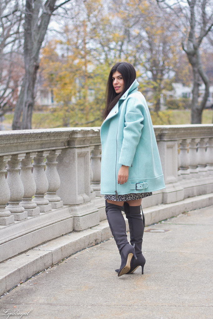 leopard print dress, mint green cocoon coat, over the knee boots-4.jpg