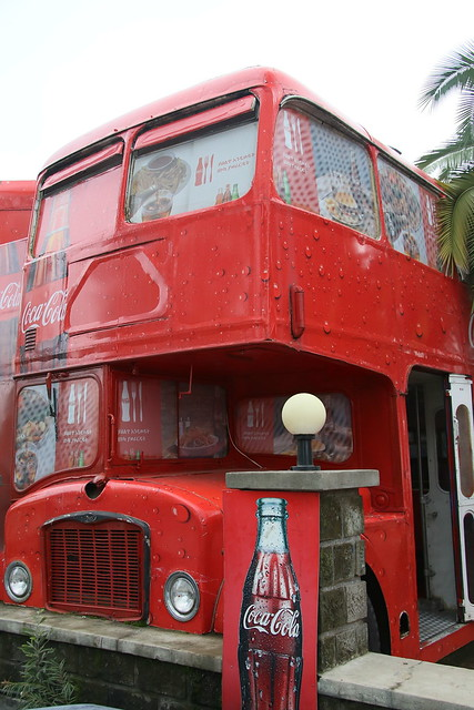Coffee in a London double decker Bus at teh University.