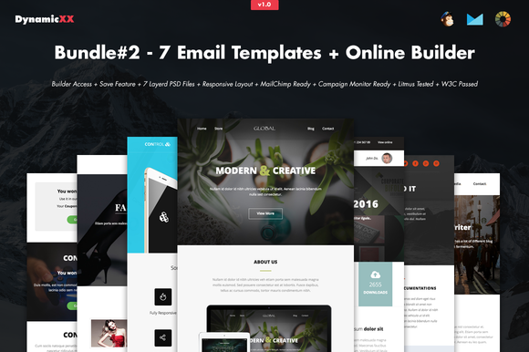 Creativemarket Bundle#2 - 7 Email Templates+Builder