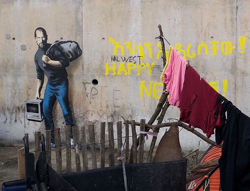 Brand new @banksy.co.uk in France, highlighting the migrant crisis of Syrian refugees in the jungle of Calais.