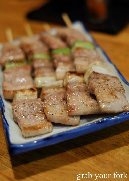 Pork belly and leek skewers at an izakaya in Hakodate, Hokkaido