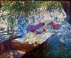Lady and Child asleep in a punter under the willows (1887) - John Singer Sargent (1886 - 1925)