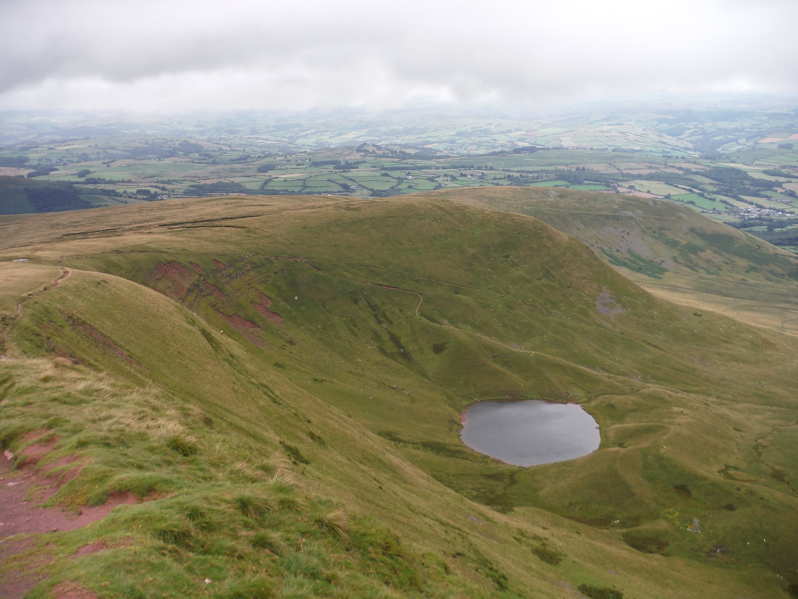 Llyn Cwm Llwch from Escarpment on way up to Corn Du SWC Walk 278 Breacon Beacons Horseshoe - Bannau Brycheiniog (Ascent from Storey Arms Car Park)