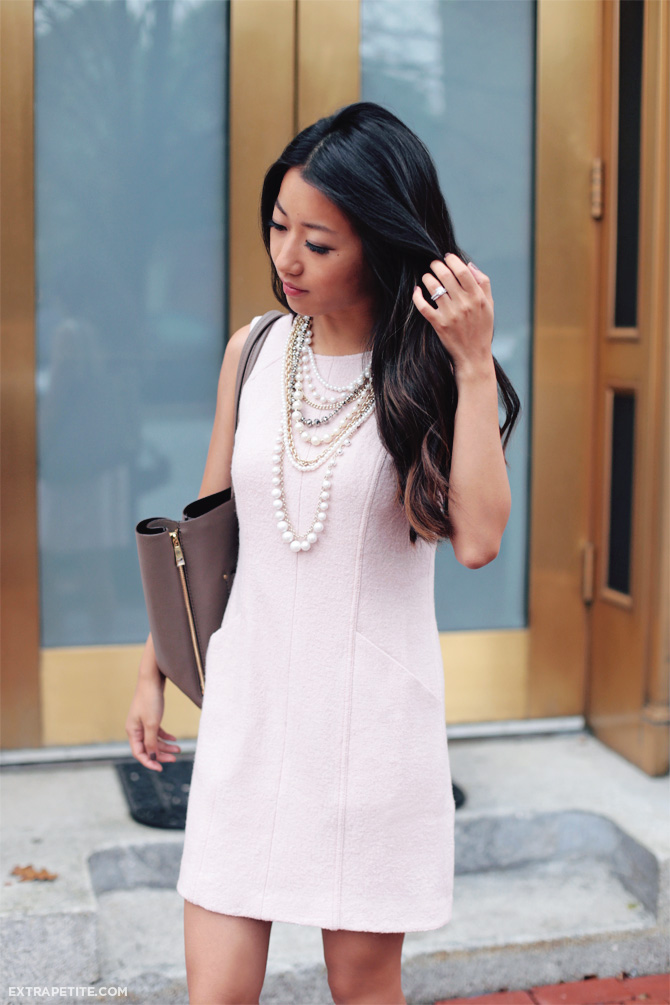 work outfit ann taylor pink dress pearl necklace