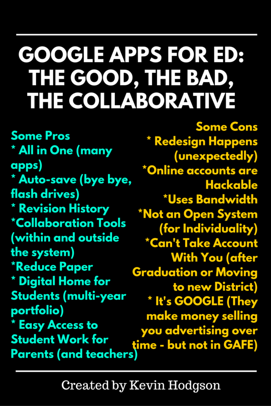 Google Apps for Ed- The Good, the Bad, the Collaborative
