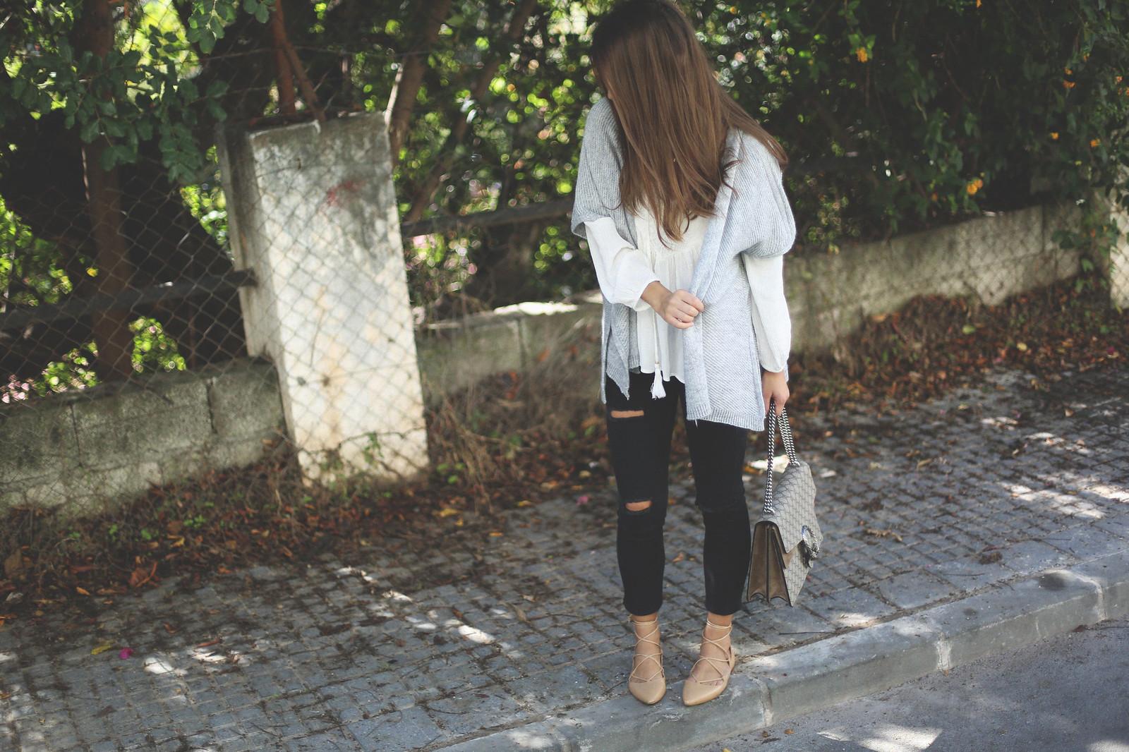 3. jessie chanes - grey poncho white boho blouse