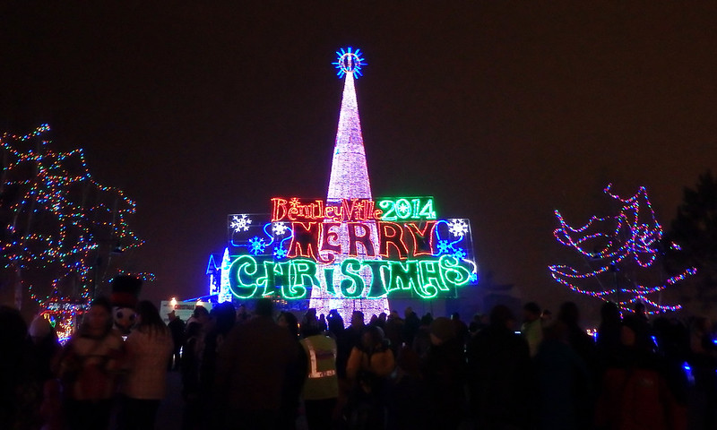 Bentleyville 2014 main entrance, with the giant lighted tree in the background