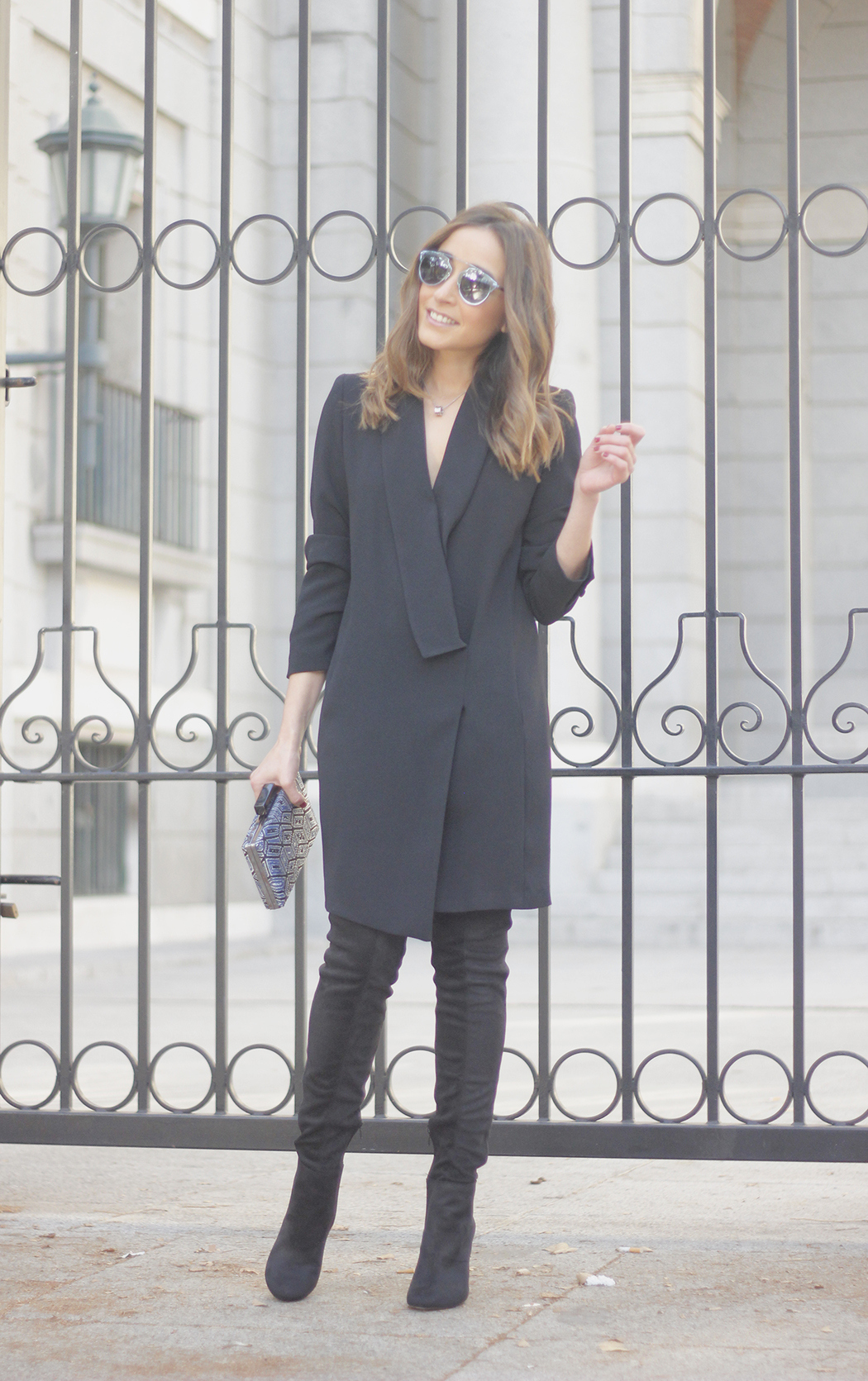 BLack Tuxedo dress black over the knee boots dior so real sunnies bulgary jewellery13