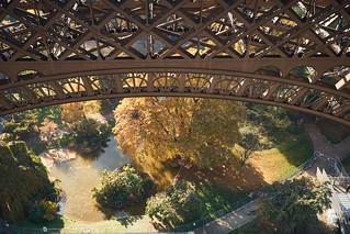 Image of Eiffel Tower near Paris 16. autumn eiffeltower fence paris park viewfromabove france fra
