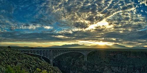 bridge sky mountains newmexico detail clouds sunrise landscapes availablelight clarity olympus handheld nm hdr omd topaz adjust em10 riograndegorge denoise