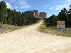 Driving up the road to Crazy Horse Monument
