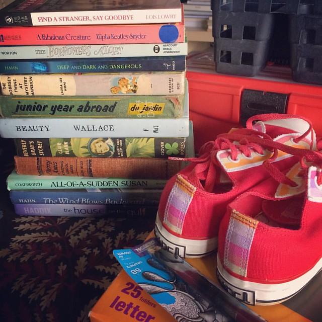 Goodwill Haul #thrifting #goodwill #books #vans
