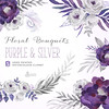 Purple & Silver Floral Bouquets. Digital Clipart. Hand painted, watercolour flowers, wedding diy elements, gray, invite, printable, grey by octopusartis