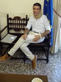 Rutigliano- Nicola Giampaolo con il collare, ferito dopo l'incidente in treno