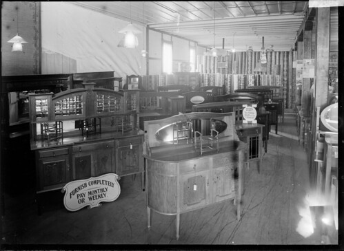 Sideboards on display in an unidentified furniture...