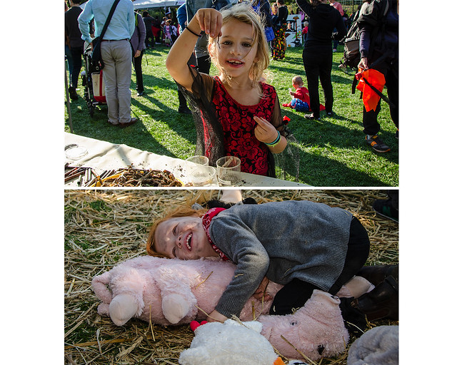 Squirmy Wormies (top); Pretend Petting Zoo (bottom). Photos by Julie Markes.