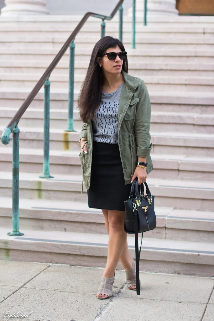 field jacket, black pencil skirt, cheers tee-1.jpg