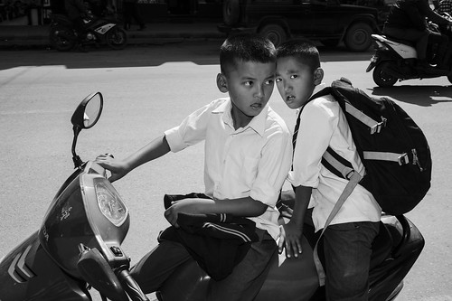 Two boys on a motorbike