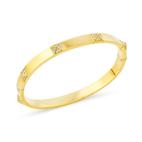 Pyramid Yellow Gold and Diamond Bangle