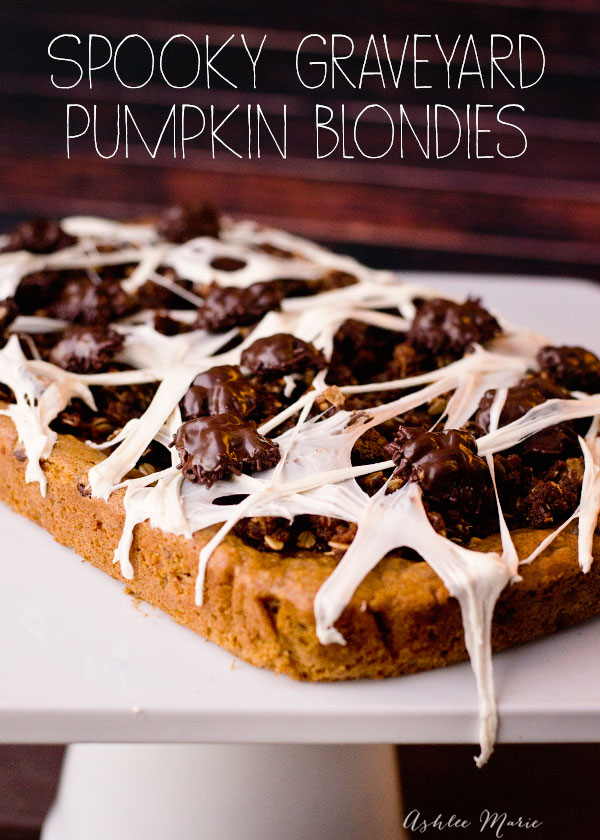 a pumpkin blondie with chocolate chips and toasted walnuts is delicious, add a gingersnap crumble, some chocolate covered walnut bugs and some marshmallow spider webs and you have a spooky treat - video tutorial
