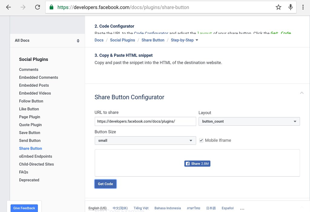 wp facebook share button api