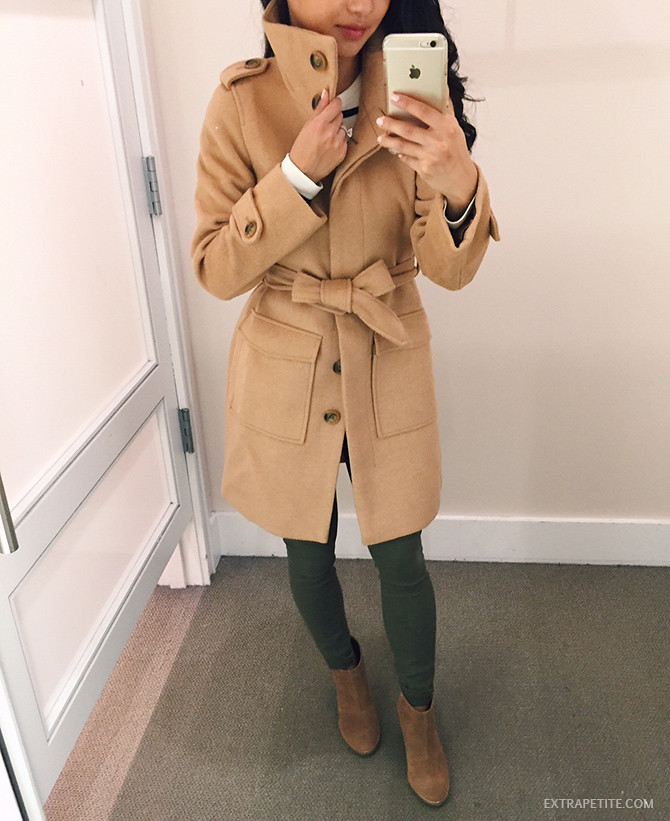 Winter outfit olive jeans LOFT camel coat review
