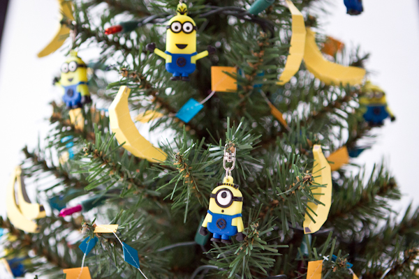 close up of minion christmas tree