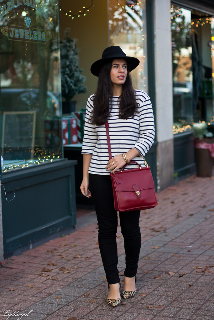 striped shirt, black jeans, leopard pumps, wool fedora-1.jpg
