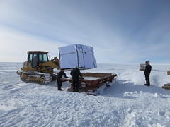 An air force pallet (AFP) of ice cores covered with an insulated blanket