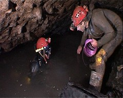 Greg & Phill laying explosives in Sump 12 Image