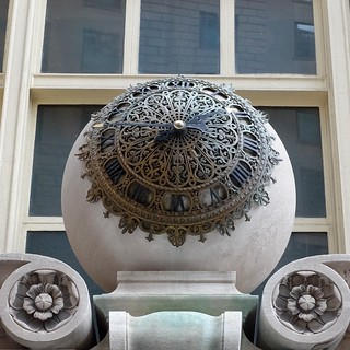 Image of  The Sphere. sphere round clock 26broadway manhattan nyc standardoil building metal ornate