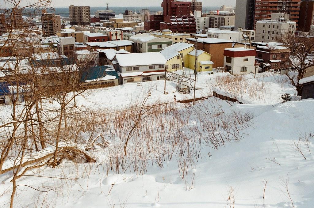小樽 Otaru, Japan / Kodak ColorPlus / Nikon FM2 其實我在猜,如果我冒險走過去,應該會直接掉下去,雖然看起來雪堆砌起來,但有可能底下是空的。  那時候站在坡上,突然想到如果掉下去然後被雪埋住,就突然害怕起來。  不過掉下去,我會先和誰求救呢?  Nikon FM2 Nikon AI AF Nikkor 35mm F/2D Kodak ColorPlus ISO200 8269-0008 2016-02-02 Photo by Toomore