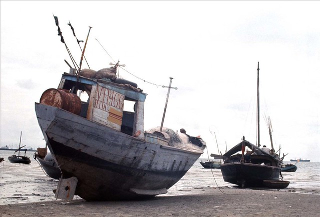 Vung Tau 1966-67 - Photo by Rick Parker - Fishing Boats near Vung Tau Taken at low tide in South Vietnam