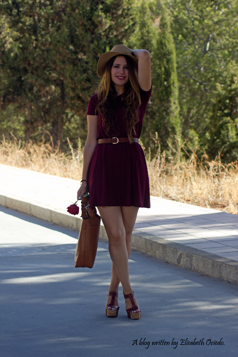 burgundy dress STRADIVARIUS MARYPAZ HEELSANDROSES (9)