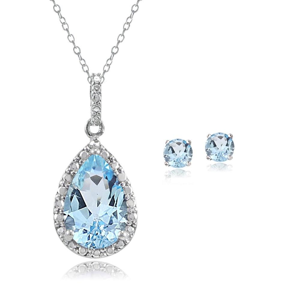925 silver blue topaz diamond teardrop necklace. Black Bedroom Furniture Sets. Home Design Ideas